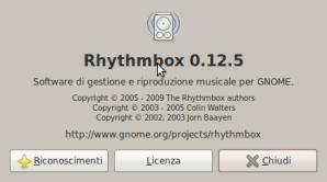 Schermata-Informazioni su Rhythmbox