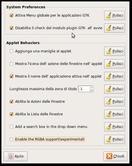 Schermata-Preferenze dell'applet Global Menu